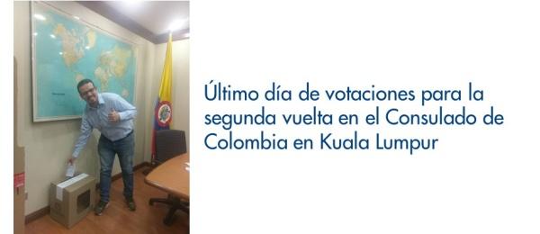 Último día de votaciones para la segunda vuelta en el Consulado de Colombia en Kuala Lumpur en 2018